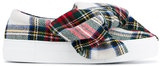 Joshua Sanders Bow Embellished Tartan Wool Felt Sneakers - women - Leather/Wool/rubber - 36