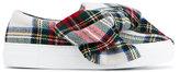 Joshua Sanders Bow Embellished Tartan Wool Felt Sneakers