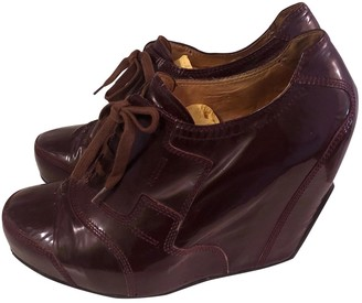Dries Van Noten Burgundy Patent leather Lace ups