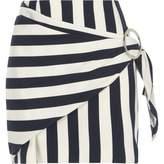 River Island Womens Navy stripe print buckle wrap mini skirt