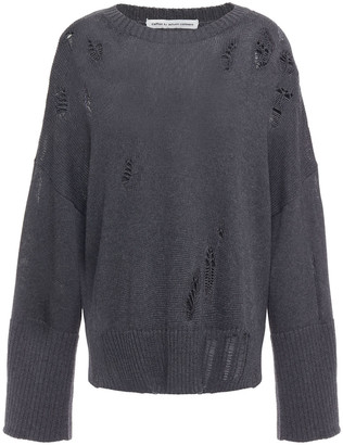 Cotton By Autumn Cashmere Distressed Cotton Sweater