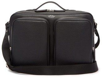 Smythson Foiled-logo Grained-leather Messenger Bag - Mens - Black