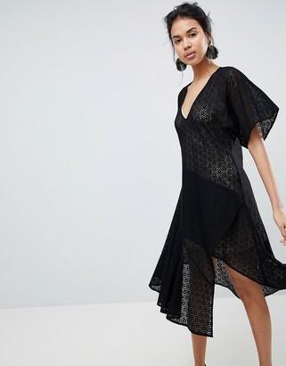 Keepsake Dreamers Lace V-Neck Dress-Black