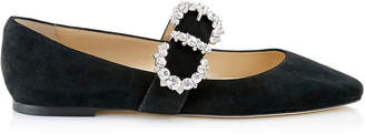 Jimmy Choo GOODWIN FLAT Black Suede Pointed Toe Ballerina Flat with Jewelled Buckle
