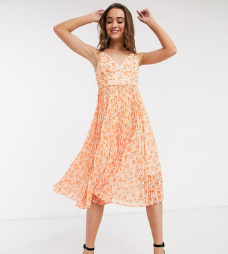 Ever New Petite pleated midi dress in orange floral