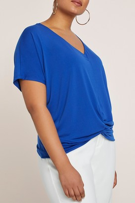 ELOQUII Twist Front Dolman Sleeve Top (Plus Size)