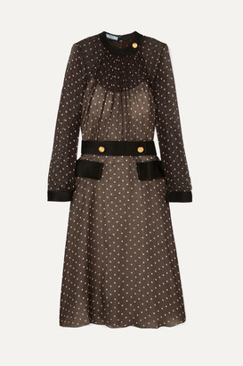 Prada Belted Polka-dot Chiffon Midi Dress - Brown