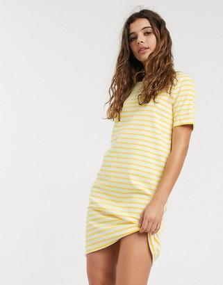 Pieces Ingrid short sleeve stripe jersey midi dress