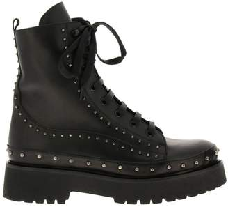 Pinko Cingoli Boots In Smooth Leather With Studs