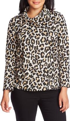 Chaus Leopard Print Cowl Neck Cotton Blend Top