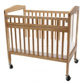 L.A. Baby Compact Non-folding Wooden Window Crib with Safety Gate, Natural
