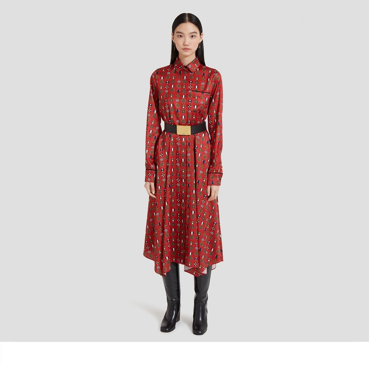 Mulberry Teri Dress Scarlet Medallion Twill