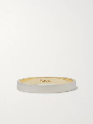 Miansai Edge Matte 14-Karat White And Yellow Gold Ring
