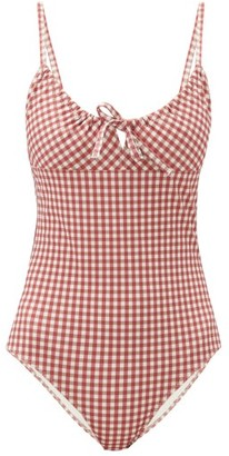 Belize - Drindle Drawstring Gingham Seersucker Swimsuit - Red Print