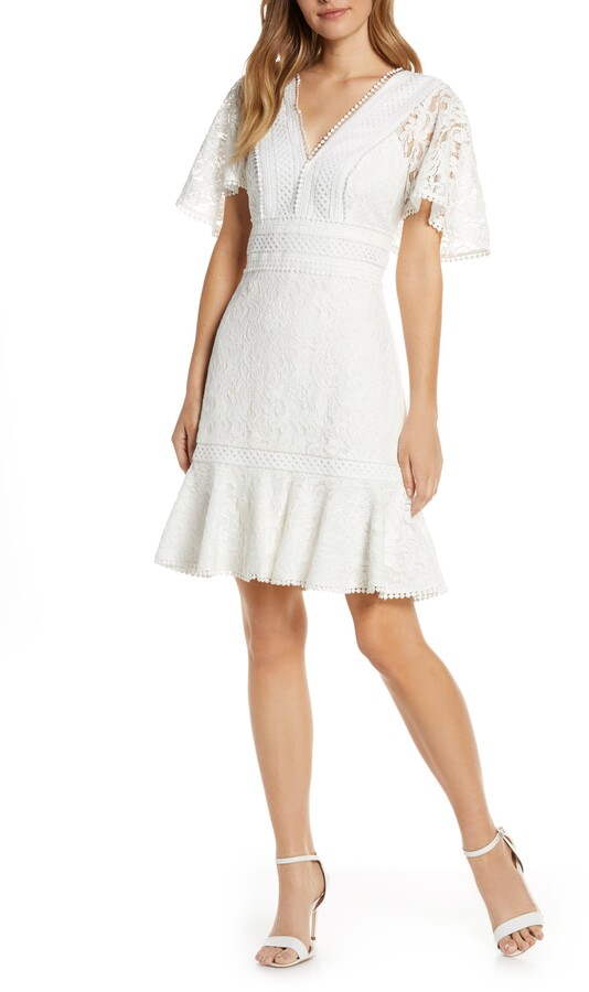 Eliza J Flounce Lace Dress
