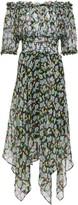 Maje Off-the-shoulder Metallic-trimmed Floral-print Silk-blend Georgette Midi Dress