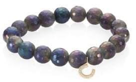 Sydney Evan Mini Horseshoe Diamond& Labradorite Beaded Bracelet