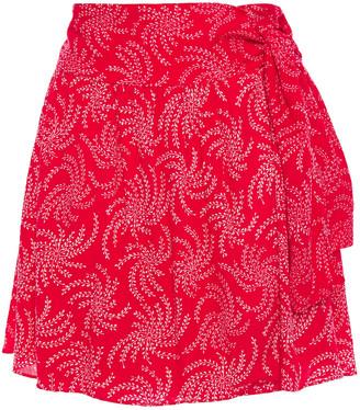 BA&SH Cortese Printed Gauze Mini Wrap Skirt