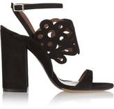 Tabitha Simmons Emi Laser-cut Suede Sandals - Black