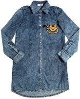 Au Jour Le Jour Cotton Chambray Dress W/ Cat Patch