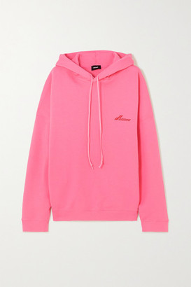 we11done Oversized Appliqued Printed Cotton-jersey Hoodie - Pink