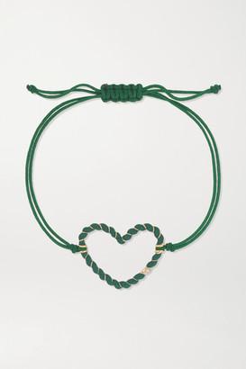 Yvonne Léon 9-karat Gold, Enamel, Diamond And Cord Bracelet - Green