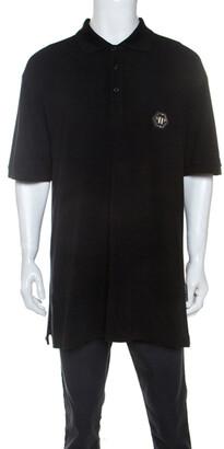 Philipp Plein Black Cotton Crystal Skull Detail Polo T-Shirt 4XL