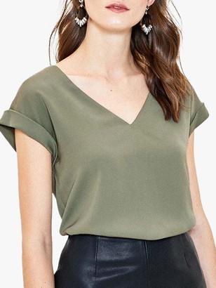 Oasis Roll Sleeve V-Neck T-Shirt, Khaki