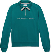 Pop Trading Company - Printed Cotton-jersey Half-zip Sweatshirt - Green