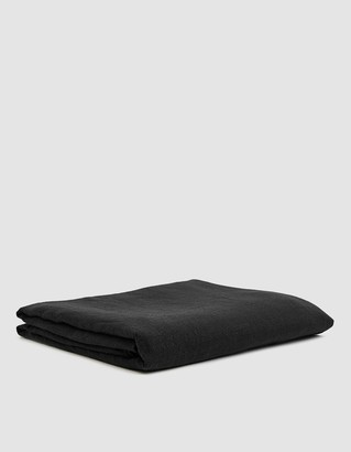 Hawkins New York King Size Simple Linen Flat Sheet in Black