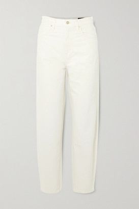 Gold Sign Net Sustain The Curved Cropped High-rise Tapered Jeans - White