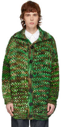 S.R. STUDIO. LA. CA. Green and Brown Oversized Merino Chunky Cardigan