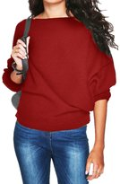 FANOVI Womens Plain Sexy Boat Neck Rib Knitted Casual Loose Jumper Sweater Tops Blue XS