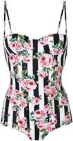 Dolce & Gabbana striped rose print swimsuit