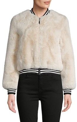 Belle Fare Faux Fur Baseball Jacket