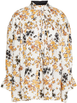 Victoria Victoria Beckham Gathered Floral-print Twill Top