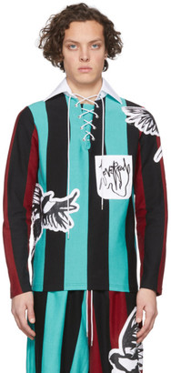 Charles Jeffrey Loverboy Blue and Black Magpie Stripe Rugby Polo