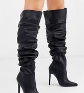 Asos Design DESIGN Wide Fit Carlotta slouch stiletto knee boot in black