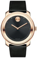 Movado 'Bold' Leather Strap Watch, 43mm