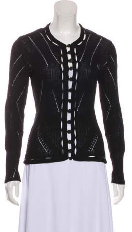 Chanel Wool-Blend Pointelle Cardigan Black Wool-Blend Pointelle Cardigan