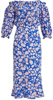 Saloni Gracie off-the-shoulder feather-print silk dress