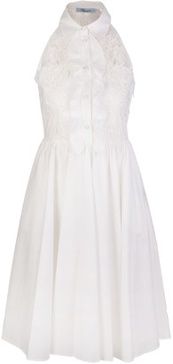 Blumarine Midi Dress With Lace And Embroidery