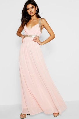 boohoo Boutique Sequin Panel Maxi Bridesmaid Dress
