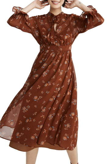 Madewell Forest Floral Tie Neck Georgette Midi Dress