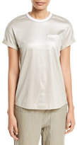 Brunello Cucinelli Short-Sleeve Lamé; T-Shirt