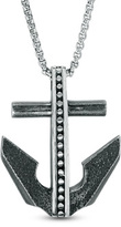 Zales Men's Antique Beaded Anchor Pendant in Stainless Steel with Black Ion-Plate - 24""