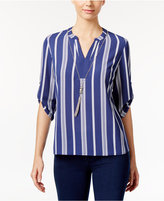 NY Collection Petite Striped Crepe Top with Necklace