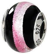 Murano Prerogatives Sterling Black & Pink Italian Glass Bead