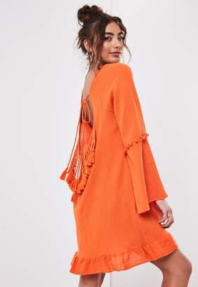 Missguided Orange Flare Sleeve Backless Dress