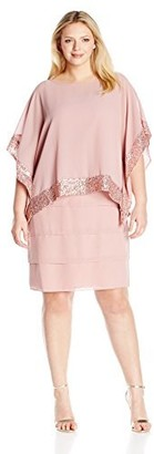 Le Bos Women's Plus Size Two-Piece Set with Tiered Dress and Poncho